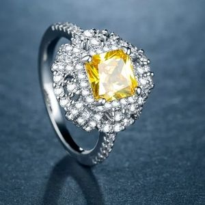 Jewelry - Luxury Princess Cut Citrine and  diamond ring